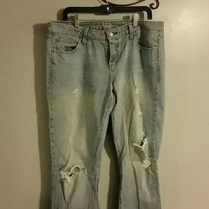 Faded and abused jeans